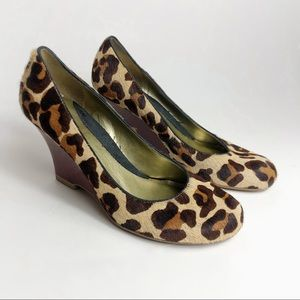 Kenneth Cole Leopard Spot Fur Wedges
